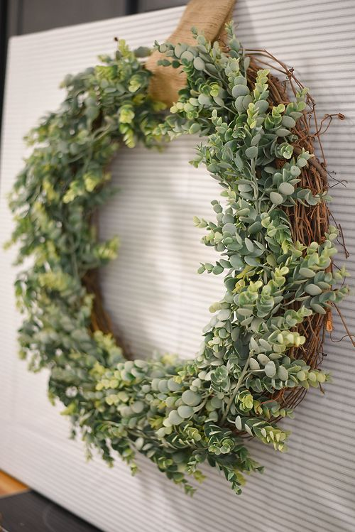 DIY Farmhouse Grapevine and Boxwood Wreath via ourhandcraftedlife