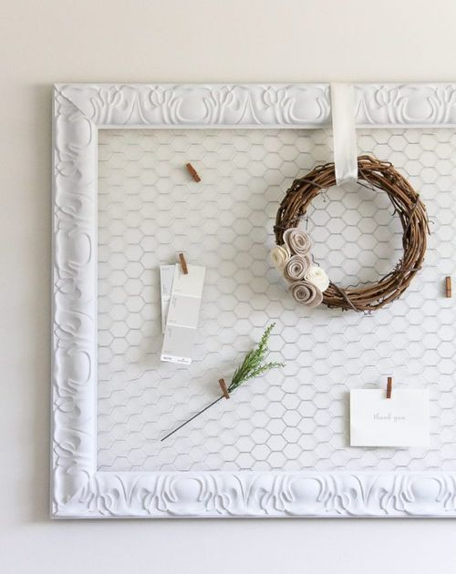 DIY Farmhouse Memo Board with Chicken Wire via lollyjane