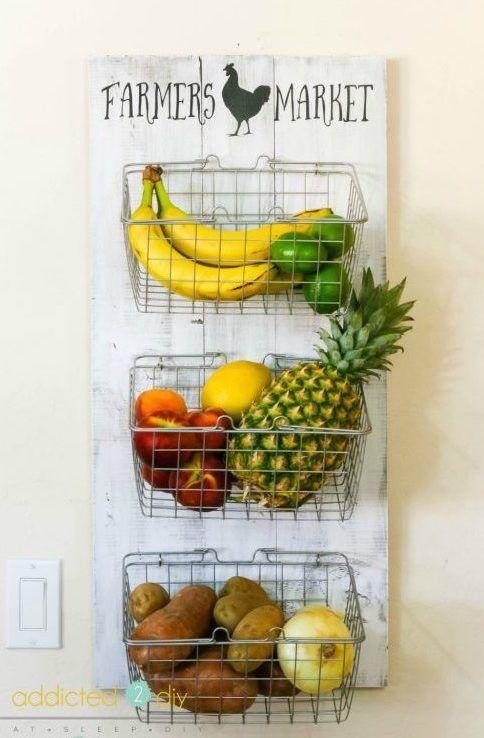 DIY Farmhouse Produce Rack for Kitchen via addicted2diy