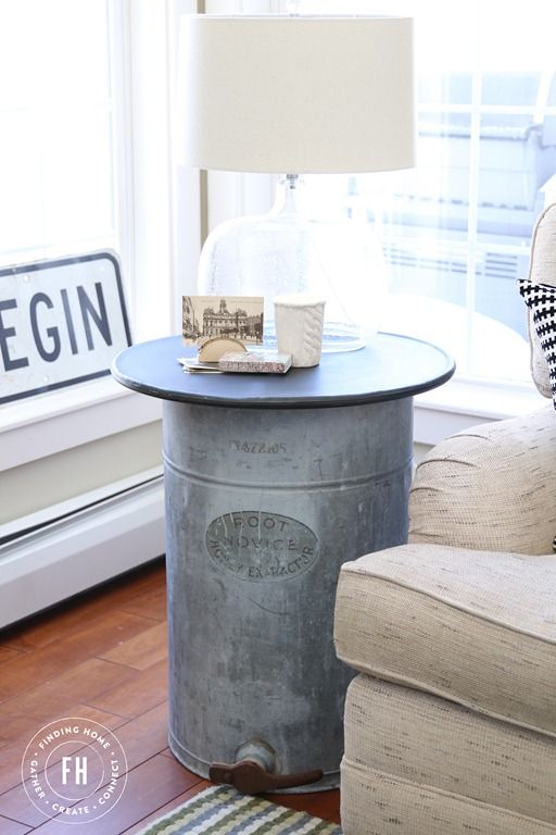 DIY Galvanized Side Table via findinghomefarms