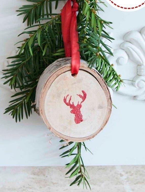 DIY Glittering Birch Slice Ornaments via sustainmycrafthabit