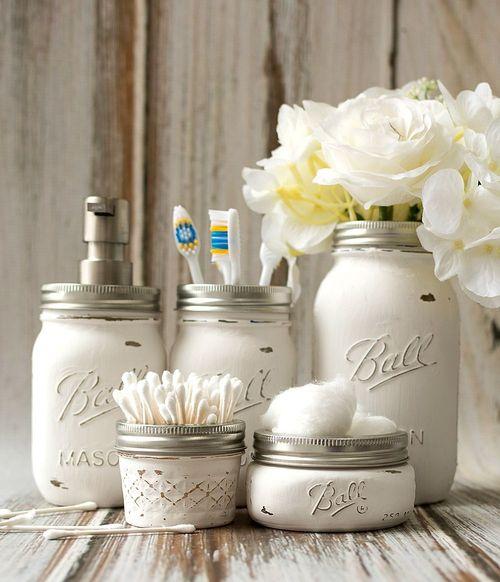 DIY Mason Jar Bathroom Accessories via masonjarcraftslove