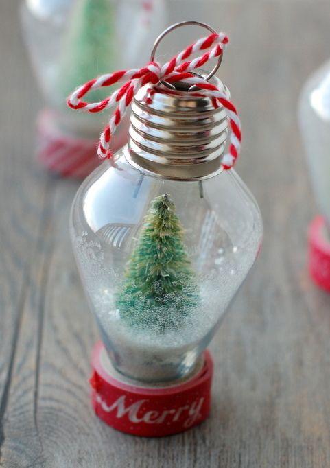 DIY Mini Snowglobe Ornament via nobiggie