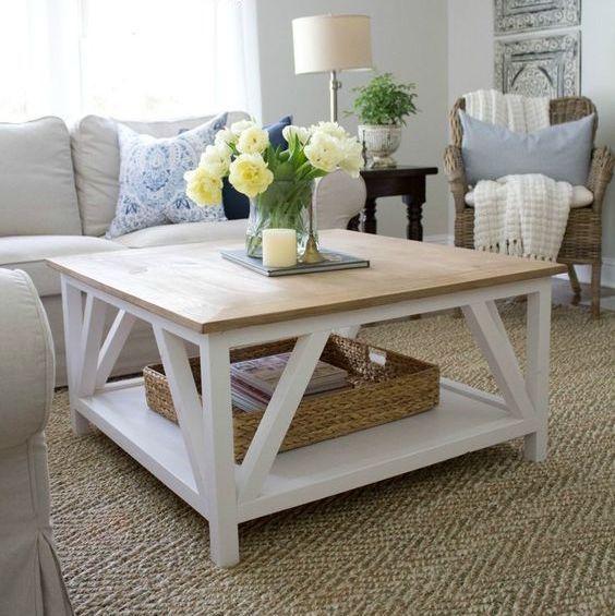 DIY Modern Farmhouse Coffee Table via sincerelymariedesigns