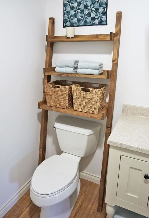 DIY Over the Toilet Leaning Farmhouse Ladder Shelf via ana-white