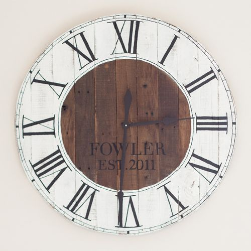 DIY Pallet Wood Farmhouse Clock via gatherandflourish