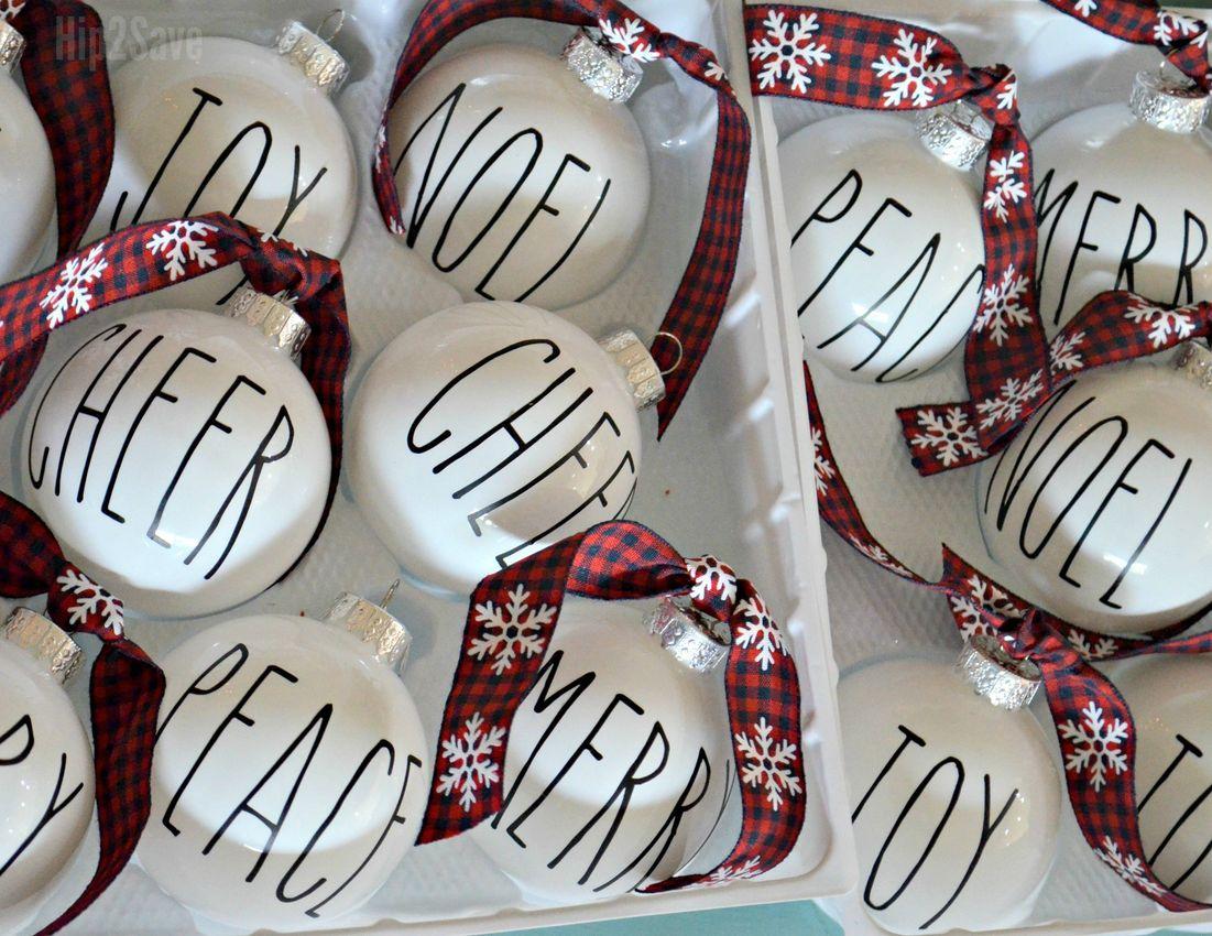 DIY Rae Dunn Inspired Ornaments via hip2save