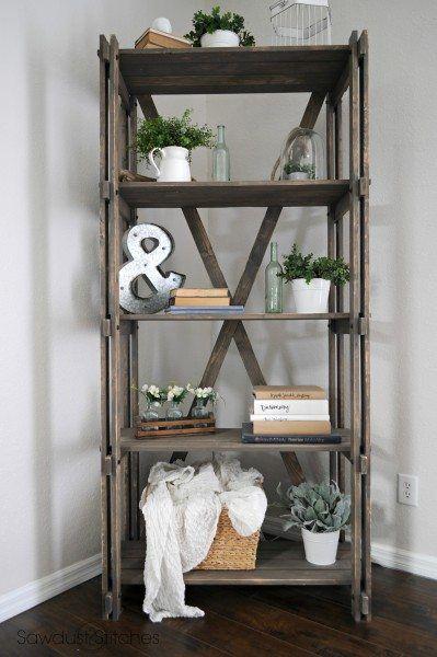 DIY Rustic Farmhouse Bookshelf via sawdust2stitches