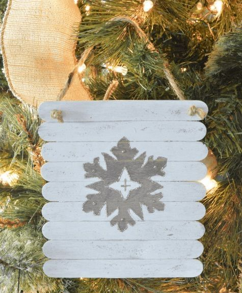 DIY Rustic Planked Snowflake Ornament via TableandHearth
