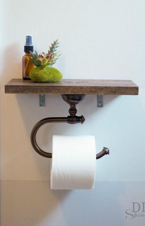 DIY Rustic Toilet Paper Holder Shelf via diyshowoff
