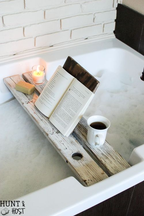 DIY Rustic bath tray with book rest via salvagedliving