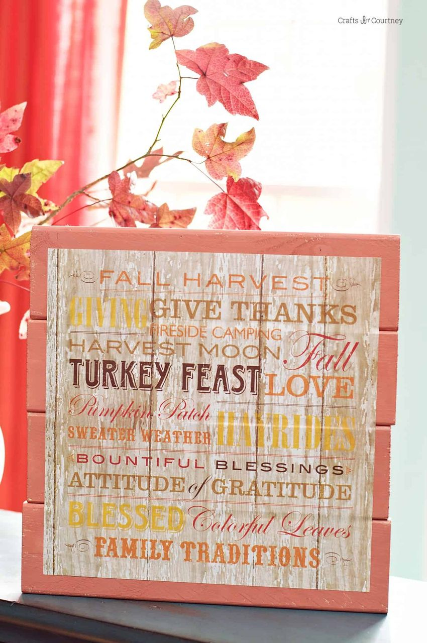 DIY Scrapbook Paper Fall Sign via modpodgerocksblog