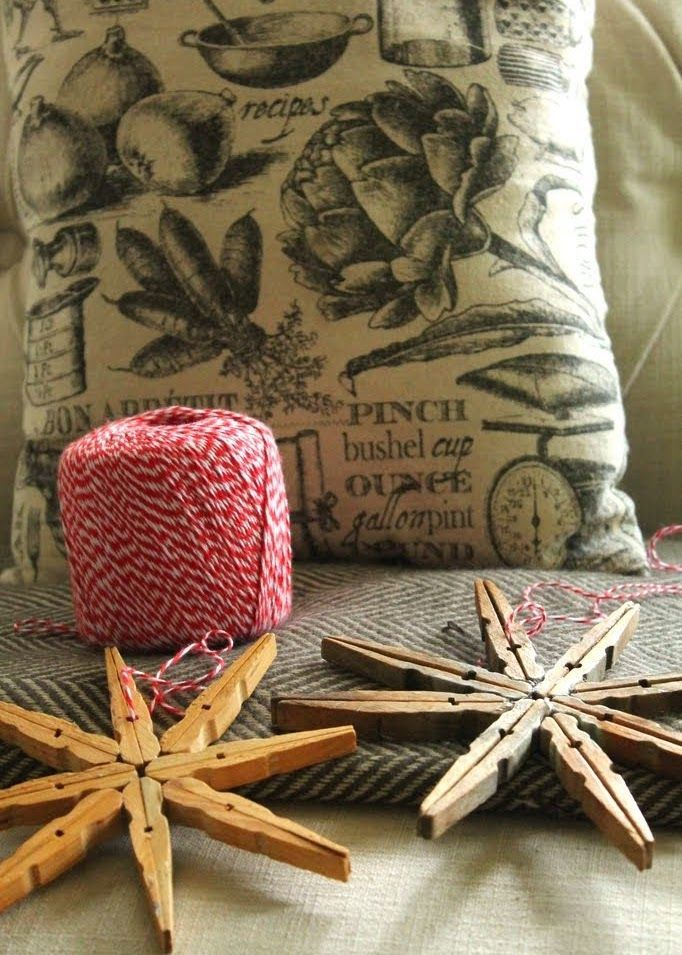 DIY Snowflake Clothespin Ornaments via rindymae
