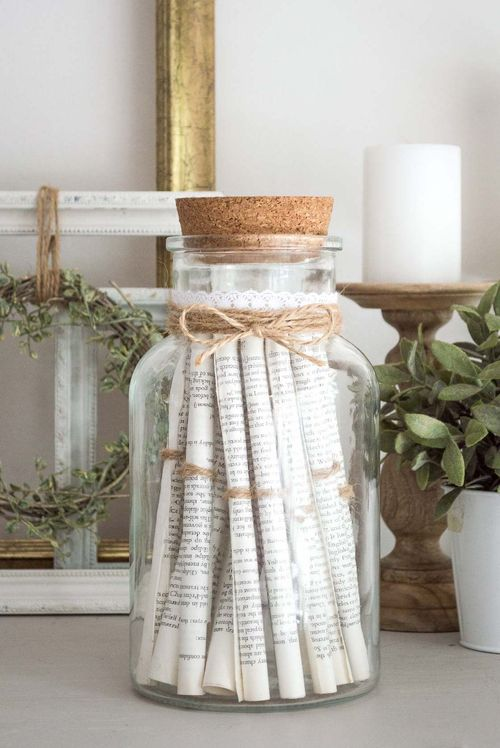 DIY Vintage Rolled Paper Jar Decoration via TemperanceRose