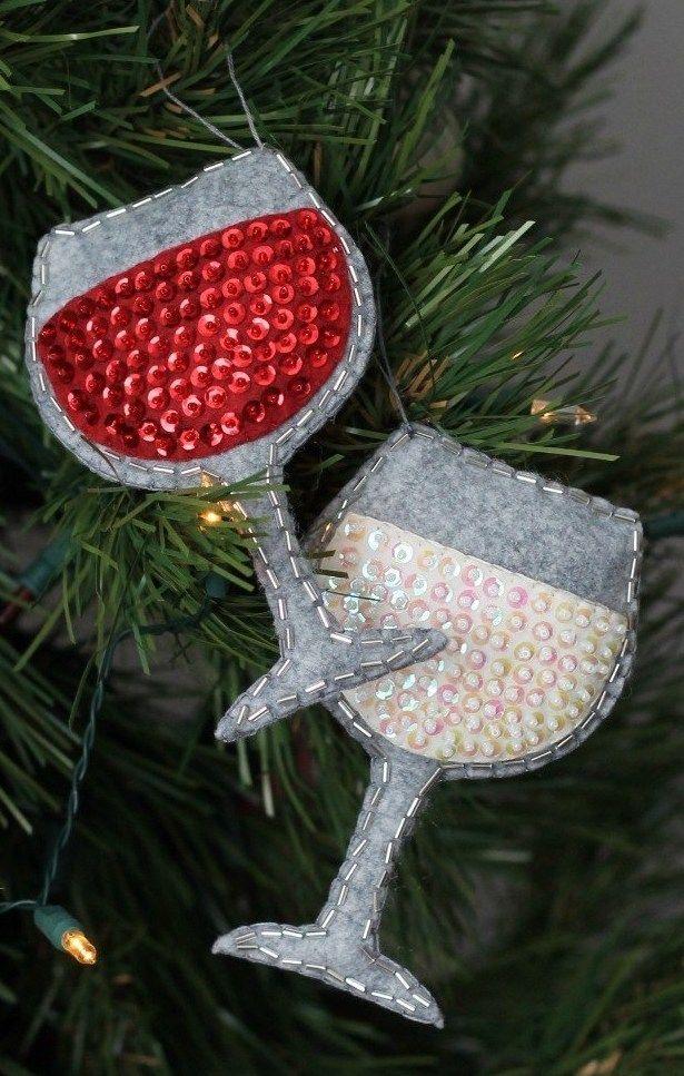 DIY Wine Glass Ornaments via swoodsonsays