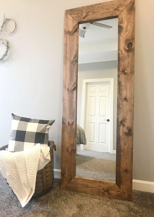 DIY Wood Frame Mirror via TheHoltzHouse