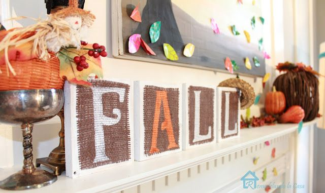 DIY Wood and Burlap FALL Sign via remodelandolacasa