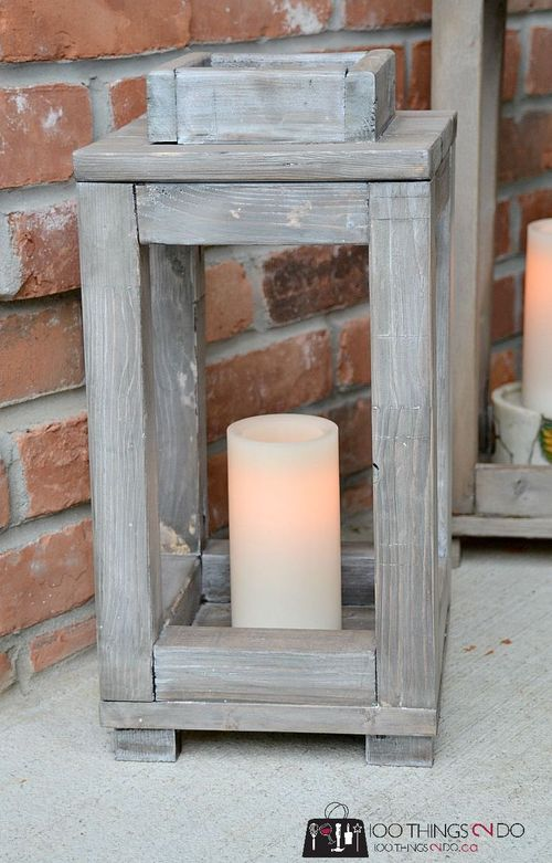 DIY Wood lantern via 100things2do