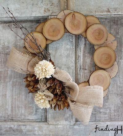 DIY Wood log fall wreath via findinghomefarms