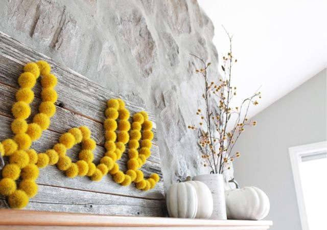 DIY Yellow Fall Barnwood Sign via tatertotsandjello
