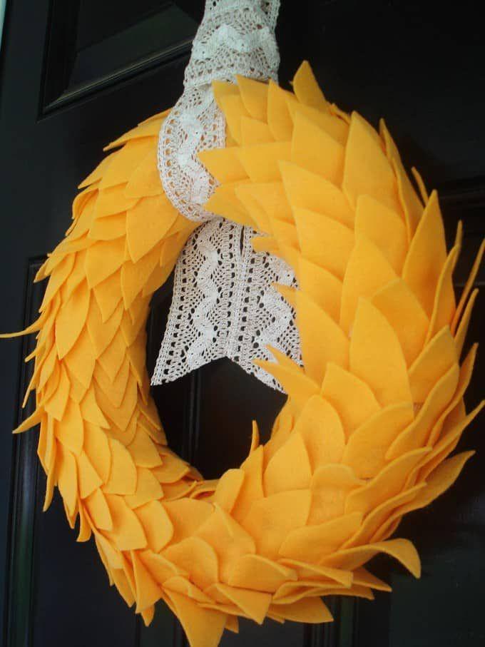 DIY Yellow Leaves and Lace Fall Wreath via burlapandblue