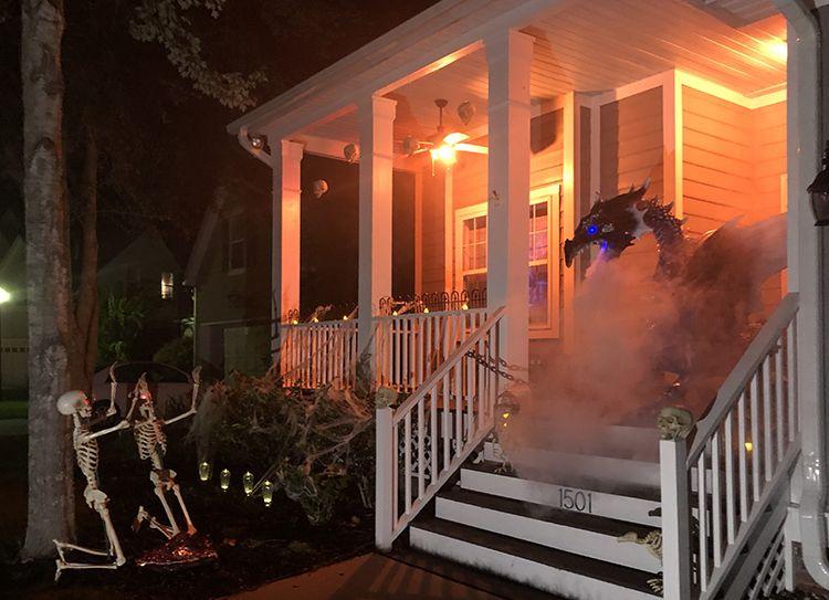 Dragon breathing smoke on Halloween front porch decor ideas
