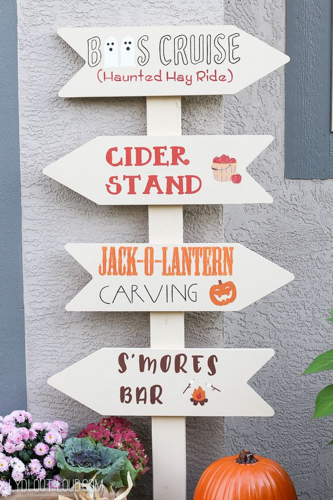 Fall Festival DIY Directional Sign via lydioutloud