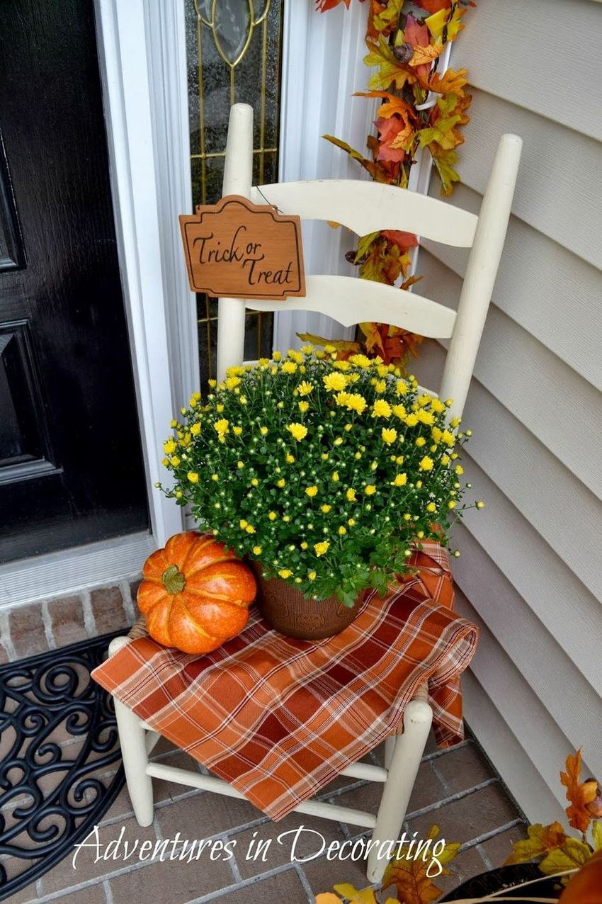 Fall Front Porch with Side Chair via Adventures in Decorating