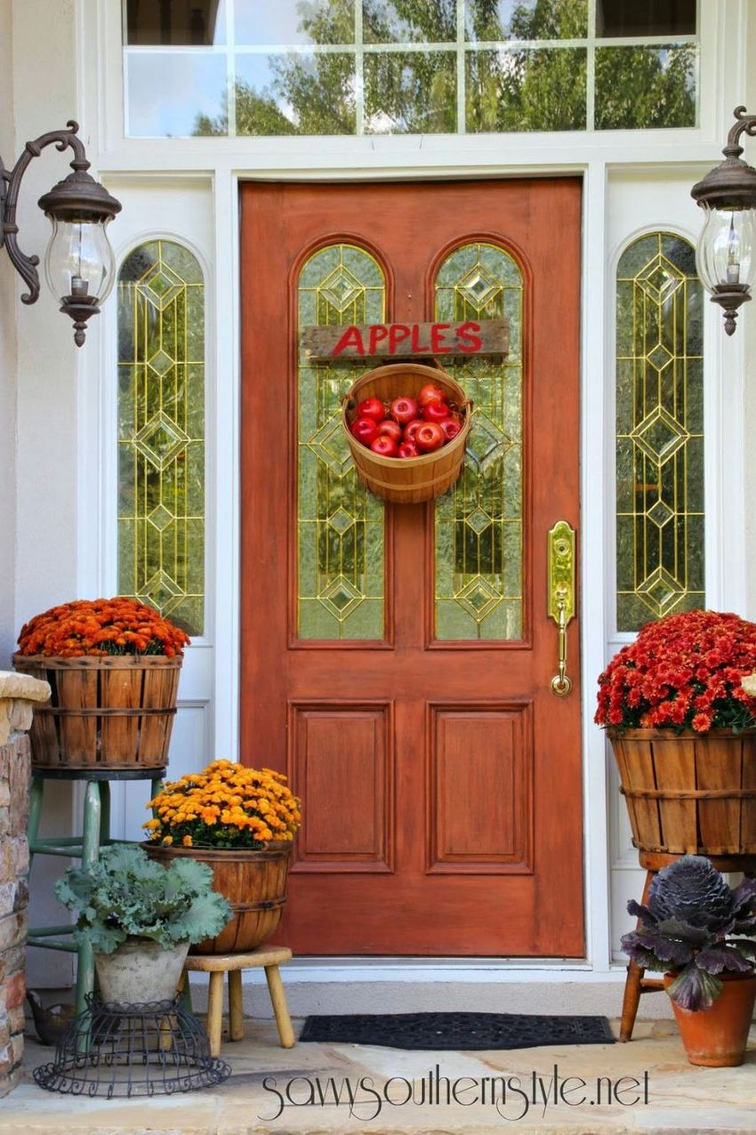 Fall front porch with Apples hanging on front door via savvysouthernstyle