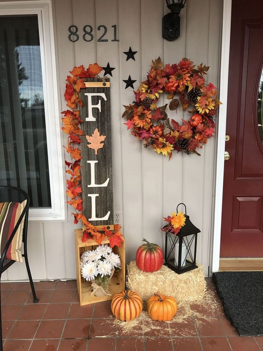 Fall front porch with FALL wood sign