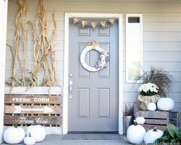 Fall front porch with white pumpkins via tarynwhiteaker