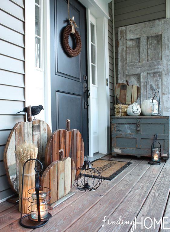 Farmhouse Fall Front Porch with Reclaimed Wood Pumpkins via findinghomefarms