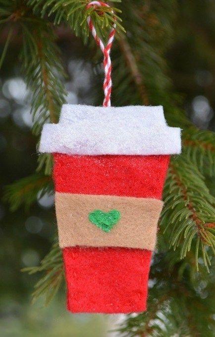 Felt Starbucks Coffee Cup Ornaments via amylattacreations