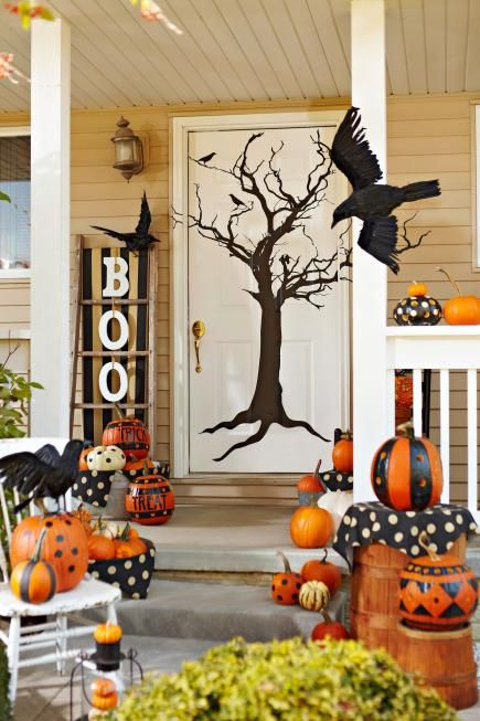 Halloween front porch decor via MidwestLiving