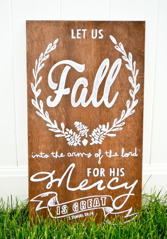 Let us fall into the arms of the lord DIY sign via greyhouseharbor
