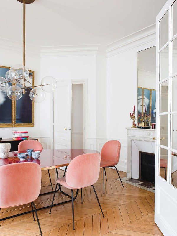 Parisian Dining Room with Pink velvet dining chairs via Nuevo Estilo Aroussia Chamakh