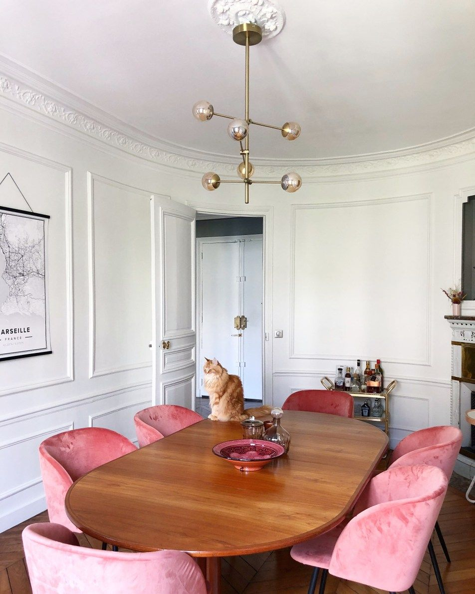 Parisian Dining Room with Brown dining chair and pink velvet chairs via hello-hello darya kopp