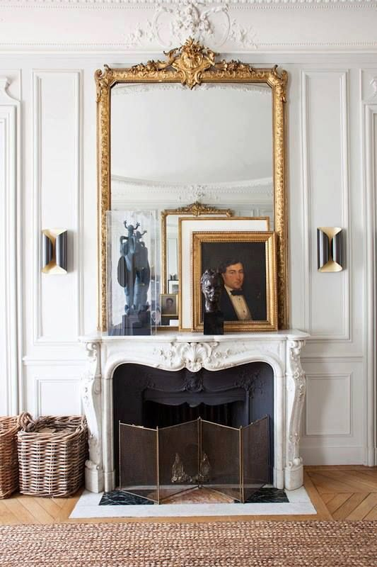 27 Parisian Fireplaces & Mantel Decor Ideas