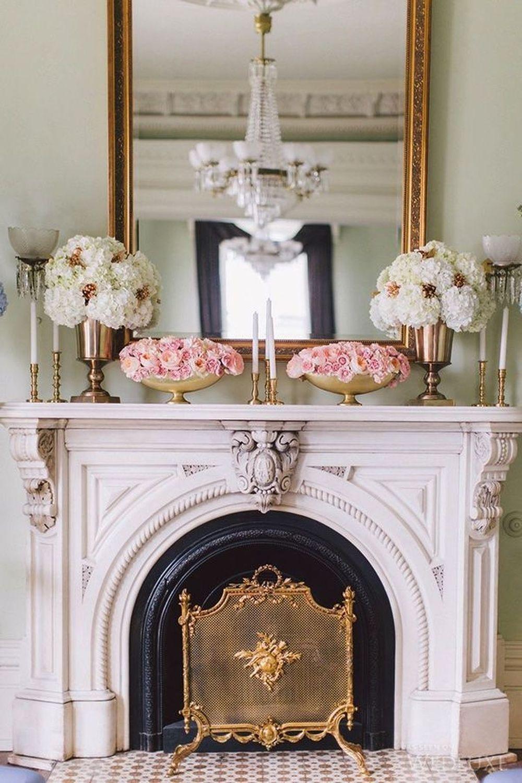 Parisian fireplace decor vintage flowers