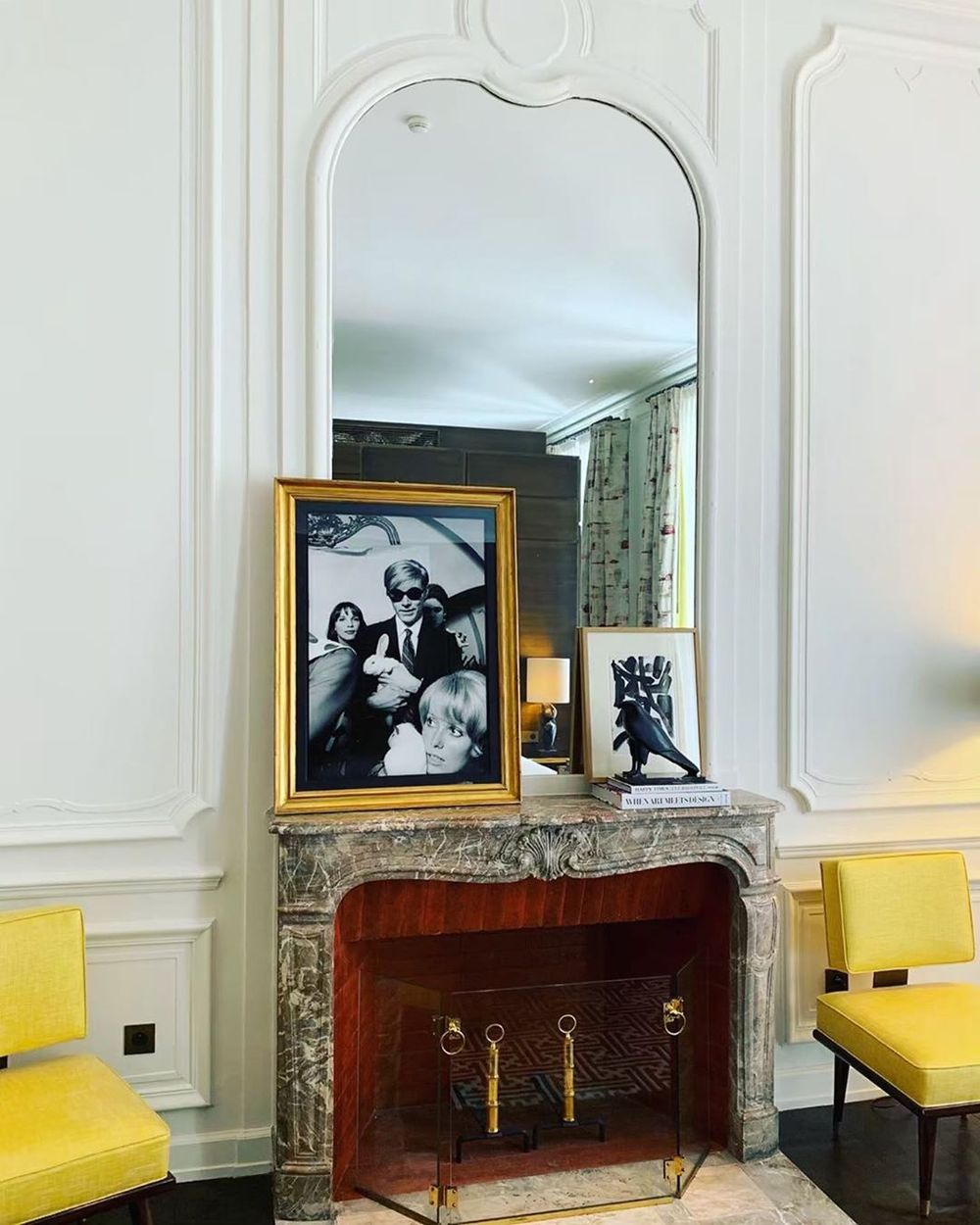 Parisian fireplace with Andy Warhol photography via @jkplaceparis