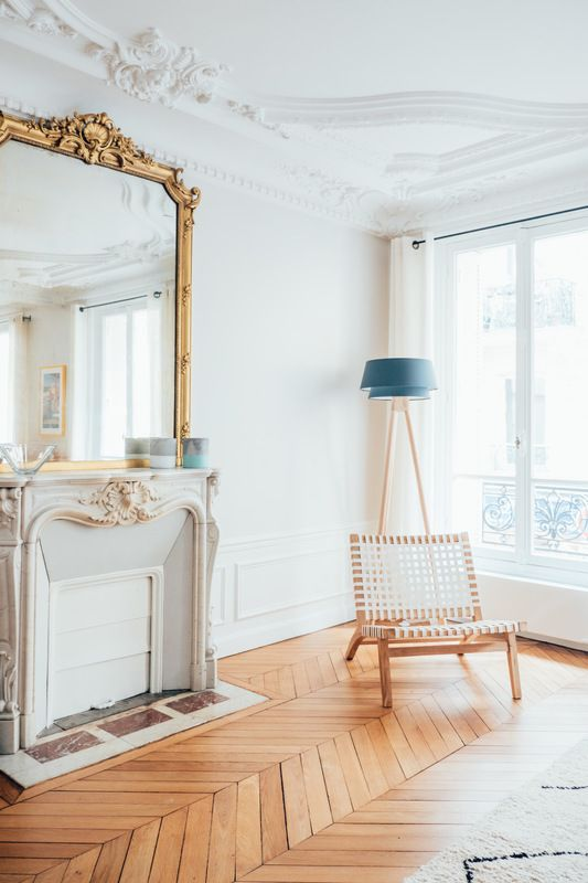 Parisian fireplace via Charlotte Fequet