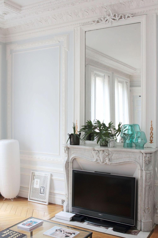 Parisian fireplace with clear Turquoise Vases via Hello-hello Vanessa Pouzet
