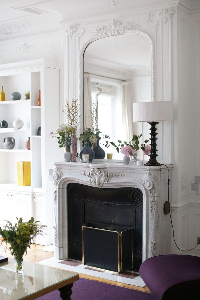 Parisian fireplace with Black table lamp via adenorah