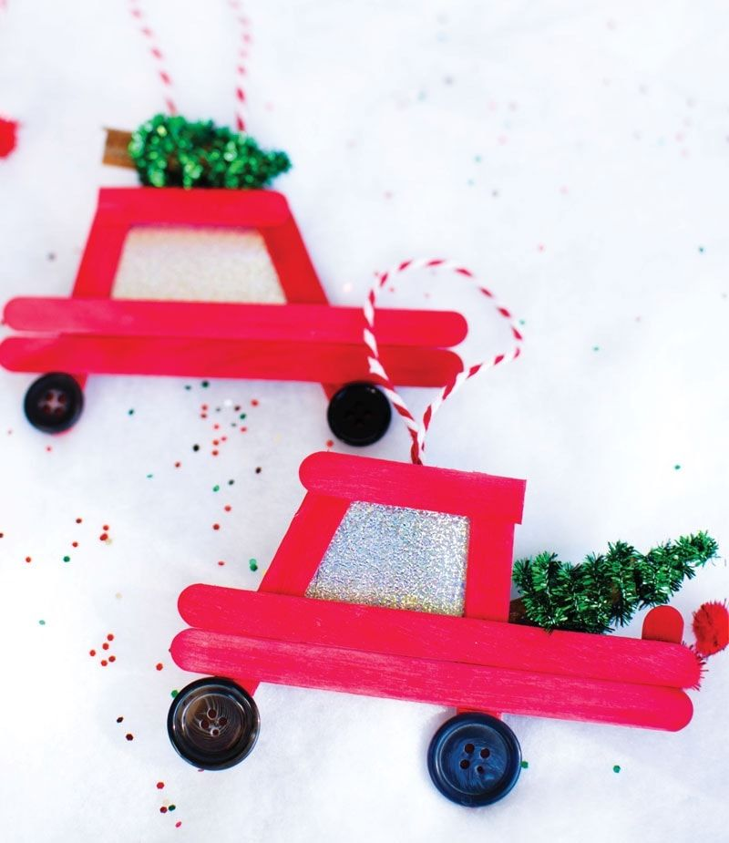 Popsicle stick car and truck DIY Ornaments via funlovingfamilies