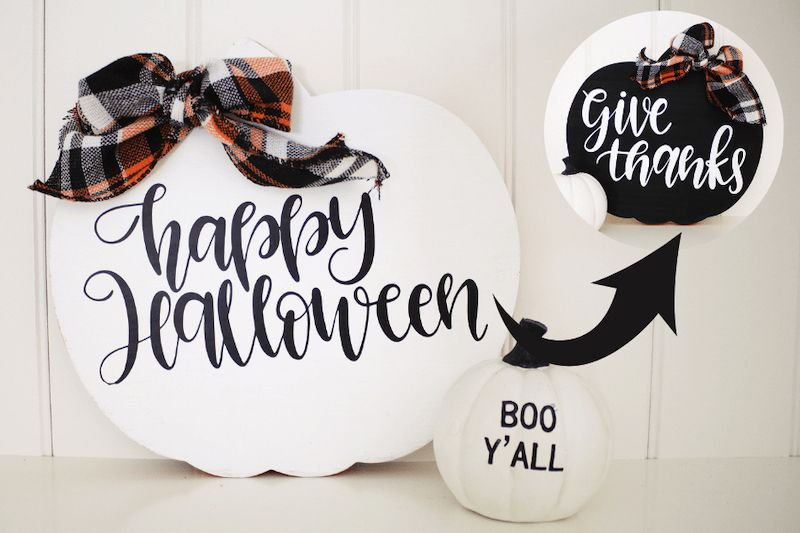 Reversible Fall Pumpkin Sign for Halloween and Thanksgiving via michellespartyplanit