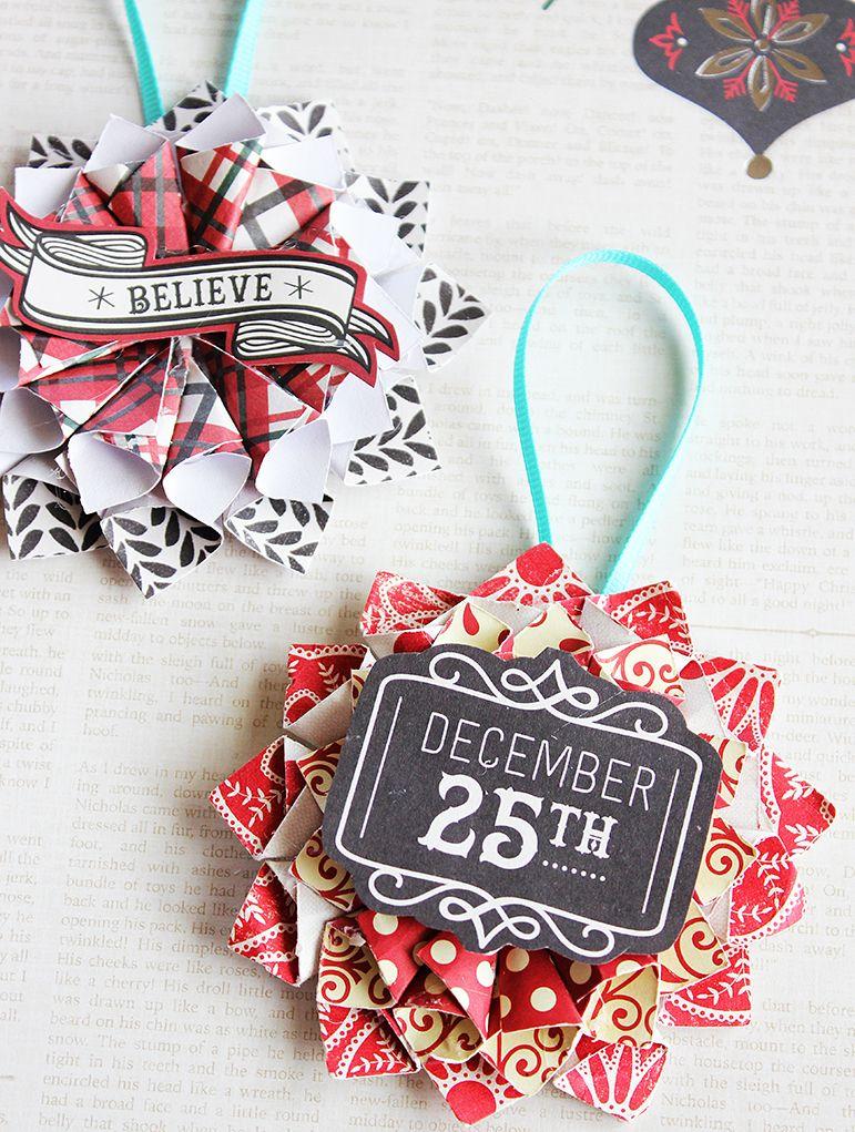 Rolled Paper Christmas Star Ornaments via positivelysplendid