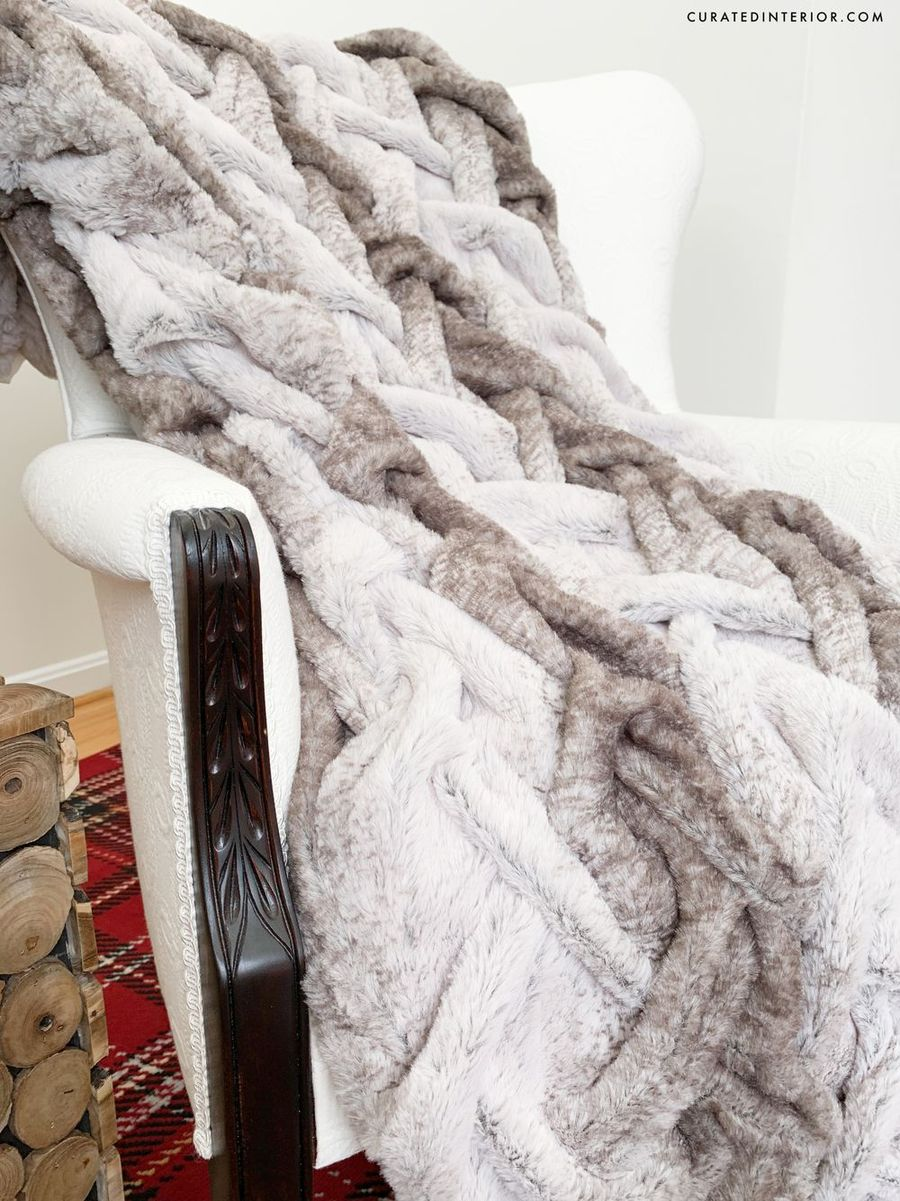 Rustic Christmas Decor - Gray and white faux fur throw blanket