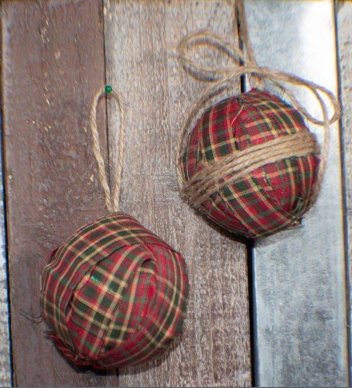 Rustic Fabric Ornaments via sewverycrafty