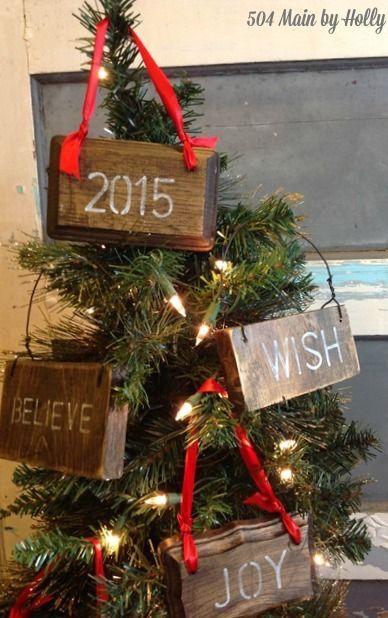 Rustic Wood Christmas Ornament Signs via 504main