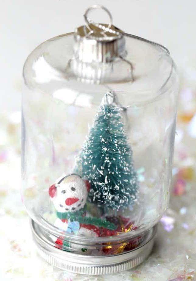 Snowman Snow Globe Ornament via thefarmgirlgabs